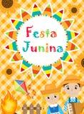 Festa Junina贺卡,邀请,海报 您的设计的巴西人拉丁美洲的节日模板 向量 库存图片