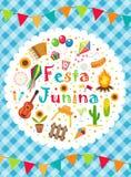 Festa Junina贺卡,邀请,海报 您的设计的巴西人拉丁美洲的节日模板 向量 免版税库存照片