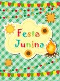 Festa Junina贺卡,邀请,海报 您的设计的巴西人拉丁美洲的节日模板 向量 图库摄影