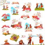 Έμβλημα που τίθεται με τις κορδέλλες για το κόμμα Festa Junina Βραζιλία επίσης corel σύρετε το διάνυσμα απεικόνισης Στοκ Εικόνες