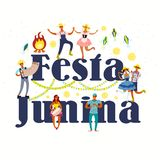 Festa Junina affischdesign stock illustrationer
