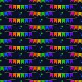 Festa Junina Bunting Banners Seamless Pattern. Festa Junina annual Brazil June celebration bunting banners or party flags and stars seamless pattern in bright Stock Image
