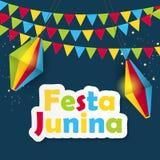 Festa Junina Background. Brazil June Festival Design for Greeting Card. Vector Illustration. EPS10 Royalty Free Stock Images