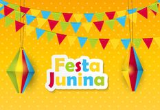 Festa Junina Background. Brazil June Festival Design for Greeting Card. Vector Illustration. EPS10 Stock Photography