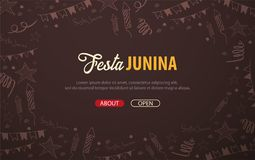 Festa Junina background with hand draw doodle elements. Brazil or Latin American holiday. Vector illustration. Festa Junina background with hand draw doodle Royalty Free Stock Photo