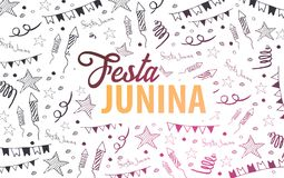 Festa Junina background with hand draw doodle elements. Brazil or Latin American holiday. Vector illustration. Festa Junina background with hand draw doodle Stock Image
