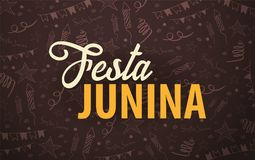 Festa Junina background with hand draw doodle elements. Brazil or Latin American holiday. Vector illustration. Festa Junina background with hand draw doodle Stock Images