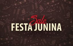 Festa Junina background with hand draw doodle elements. Brazil or Latin American holiday. Vector illustration. Festa Junina background with hand draw doodle Royalty Free Stock Photos
