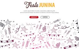 Festa Junina background with hand draw doodle elements. Brazil or Latin American holiday. Vector illustration. Festa Junina background with hand draw doodle Royalty Free Stock Photography