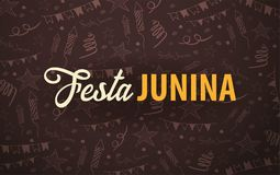 Festa Junina background with hand draw doodle elements. Brazil or Latin American holiday. Vector illustration. Festa Junina background with hand draw doodle Stock Photos
