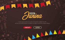 Festa Junina background with hand draw doodle elements and party flags. Brazil or Latin American holiday. Vector illustration. Festa Junina background with hand Stock Photography