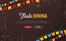 Festa Junina background with hand draw doodle elements and party flags. Brazil or Latin American holiday. Vector illustration. Festa Junina background with hand Royalty Free Stock Photos