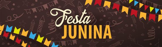 Festa Junina background with hand draw doodle elements and party flags. Brazil or Latin American holiday. Vector illustration. Festa Junina background with hand Stock Image