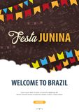 Festa Junina background with hand draw doodle elements and party flags. Brazil or Latin American holiday. Vector illustration. Festa Junina background with hand Royalty Free Stock Photo