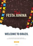 Festa Junina background with hand draw doodle elements and party flags. Brazil or Latin American holiday. Vector illustration. Festa Junina background with hand Royalty Free Stock Images