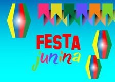 Festa junina background holiday. Latin American holiday, the June party of Brazil, blue sky the background. Multi color Vector. Isolated on blue Stock Image