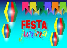 Festa junina background holiday. Latin American holiday, the June party of Brazil, blue sky the background. Multi color Vector. Isolated on blue Royalty Free Stock Image