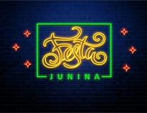 Festa junina background holiday neon sign. Festa junina background holiday place for text neon sign isolated on brick wall Royalty Free Stock Image