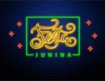 Festa junina background holiday neon sign. Festa junina background holiday place for text neon sign isolated on brick wall Stock Photos