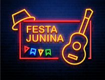 Festa junina background neon sign holiday. Festa junina background holiday place for text neon sign isolated on brick wall Stock Photography