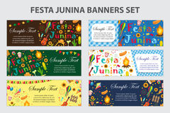 Festa Junina banner set with space for text. Brazilian Latin American festival template for your design with traditional Royalty Free Stock Images
