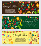 Festa Junina banner set with space for text. Brazilian Latin American festival template for your design with traditional. Symbols. Vector illustration Stock Photography