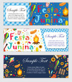 Festa Junina banner set with space for text. Brazilian Latin American festival template for your design with traditional Stock Photography