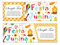 Festa Junina banner set with space for text. Brazilian Latin American festival template for your design with traditional Royalty Free Stock Image