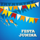 Festa Junina Brasilien ämnefestival Folkloreferie Det är en vektorillustration Royaltyfri Foto