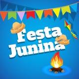 Festa Junina Brasilien ämnefestival Folkloreferie Det är en vektorillustration Royaltyfri Bild