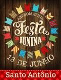 Festa Junina - Brasilien Juni festival Folkloreferie affisch Fotografering för Bildbyråer