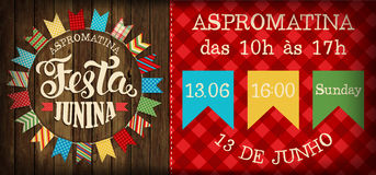 Festa Junina - Brasilien Juni festival Folkloreferie affisch Arkivfoto