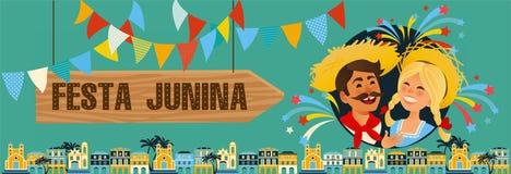 Festa Junina - Brasilien Juni festival Folkloreferie tecken Royaltyfri Foto