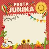 Festa Junina - Brasilien Juni festival Retro affisch av folkloreferie Arkivfoton