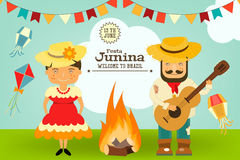 Festa Junina - Brazil Festival. Festa Junina - Brazil June Festival. Card Folklore Holiday. Vector Illustration Royalty Free Stock Photos