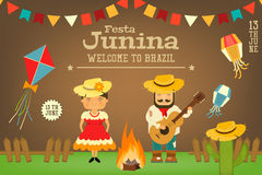 Festa Junina - Brazil Festival. Festa Junina - Brazil June Carnival. Card Folklore Holiday. Vector Illustration Stock Image