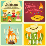 Festa Junina - Brazil Festival. Festa Junina - Brazil June Festival. Collection of Posters Folklore Holiday. Vector Illustration Royalty Free Stock Photo