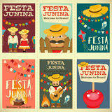 Festa Junina - Brazil Festival. Festa Junina - Brazil June Festival. Posters Set of Folklore Holiday. Vector Illustration Stock Photos