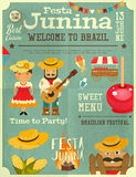 Festa Junina - Brazil Festival. Festa Junina - Brazil June Festival. Retro Poster Infographic of Folklore Holiday. Vector Illustration Royalty Free Stock Photo