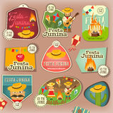 Festa Junina - Brazil Festival. Festa Junina - Brazil June Festival. Stickers Set of Folklore Holiday. Vector Illustration Royalty Free Stock Photography