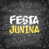 Festa Junina. Brazil holiday design with festive pattern on chalkboard. Vector illustration Royalty Free Stock Image