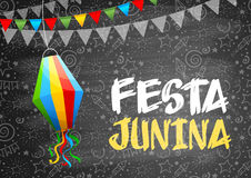 Festa Junina. Brazil holiday design with traditional decorations and festive pattern on chalkboard. Vector illustration Royalty Free Stock Photo