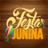 Festa Junina. Brazil holiday design with traditional decorations on rustic wooden background. Vector illustration Stock Photography