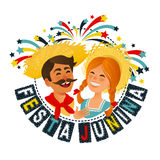 Festa Junina Brazil June Festival banner. Folklore Holiday. Characters. Vector Illustration. Festa Junina - Brazil June Festival. Folklore Holiday. Characters Royalty Free Stock Photo