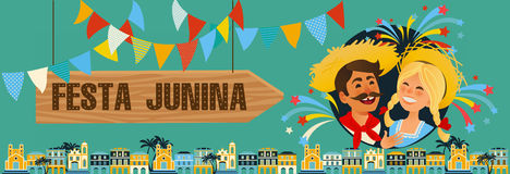 Festa Junina - Brazil June Festival. Folklore Holiday. Characters. Festa Junina - Brazil June Festival. Folklore Holiday banner. Characters. Vector Illustration Royalty Free Stock Photo