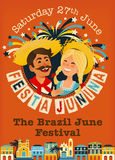 Festa Junina - Brazil June Festival. Folklore Holiday. Characters. Festa Junina - Brazil June Festival. Folklore Holiday banner. Characters. Vector Illustration Stock Photo