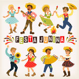 Festa Junina - Brazil June Festival. Folklore Holiday. Characters. Festa Junina Brazil June Festival. Folklore Holiday. Characters. Vector Illustration Royalty Free Stock Photos