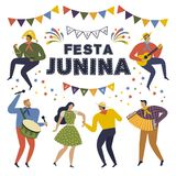 Festa Junina Brazil June Festival. Folklore Holiday. Characters. Vector Illustration. Festa Junina Brazil June Festival. Folklore Holiday Characters. Vector Stock Photos