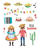 Festa Junina - Brazil June Festival. Folklore Holiday. Characters. Vector set. Festa Junina - Brazil June Festival. Folklore Holiday. Characters. Vector set of Royalty Free Stock Images