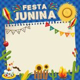 Festa Junina Brazil June Festival. Retro Poster of Folklore Holiday. Cage Background. Vector Illustration. Festa Junina. Brazil June Festival. Retro Poster of Royalty Free Stock Photo